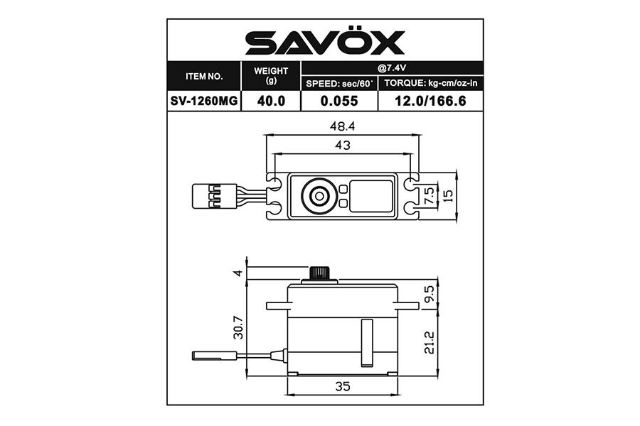 SAVOX HV DIGITAL MINI SIZE SERVO 12KG/0 055S@7 4V SAV-SV1260MG